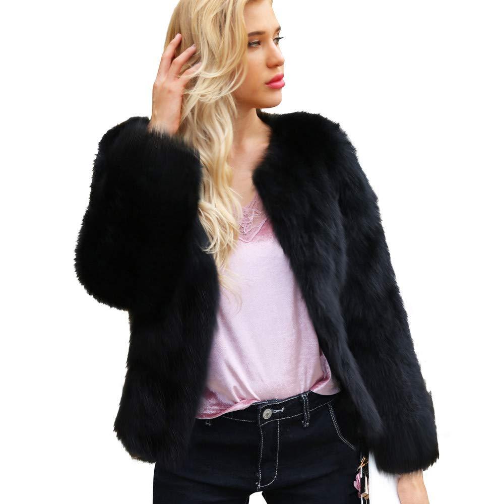 BANAA Giacca Eleganti Donna, Caldo Cappotto di Pelliccia Sintetica,Maglione Manica Lunga,Maglie Manica Lunga,Elegante Casual Maglietta