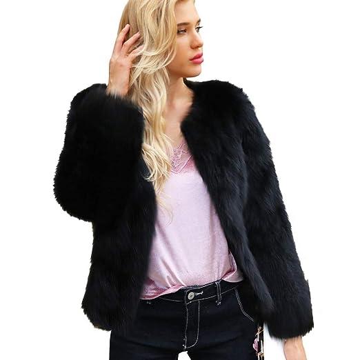 4b0ed750ab2 Image Unavailable. Image not available for. Color: Faionny Women Faux Fur  Coat Fur Collar Jacket ...