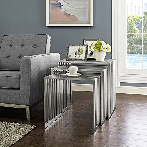 Modway Duct Brushed Stainless Steel Metal 3-Piece Side Nesting Table Set in Silver