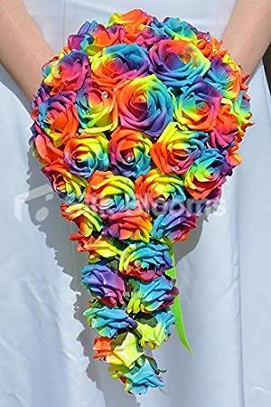 Couleurs Neon Artificiel Rose Multicolore Cascade Pour Mariage