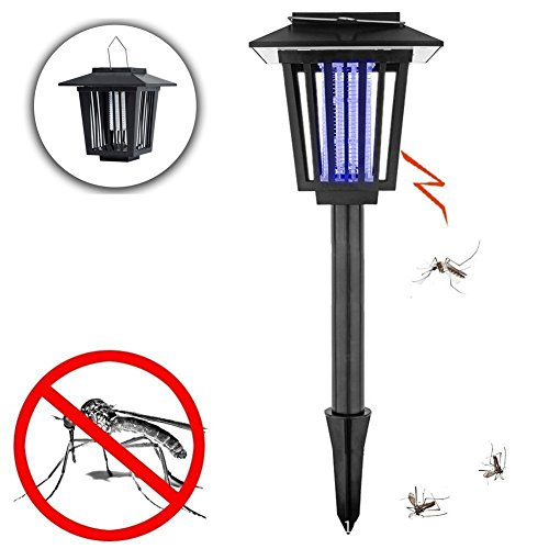 Grass Hanging Panel - JUNFEI Solar Power Flying Insect Killer Outdoor Light 2 Pack Waterproof LED Hanging Light or Stick in the Ground Lamp for Path Landscape Garden Grass Street Patio Backyard Villa Night Decoration