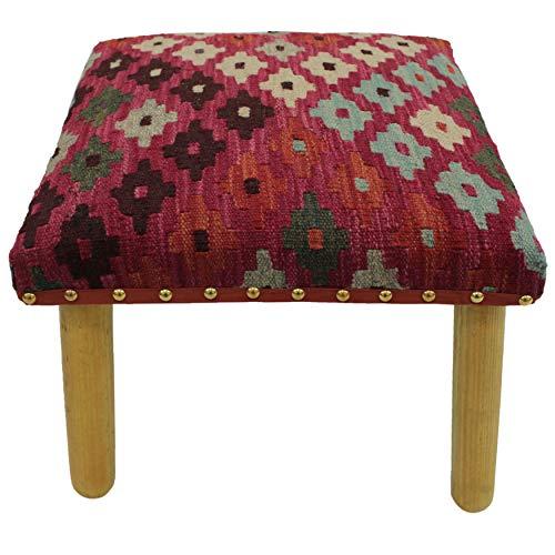 Arshs Centeno Pink/Ivory Handmade Kilim Upholstered Bench (Upholstered Kilim Furniture)