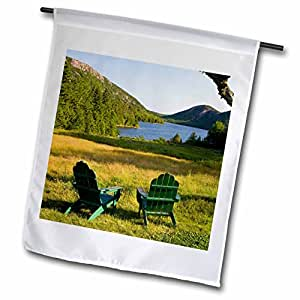Danita Delimont - Maine - Adirondack Chairs, Mt Desert Island, Maine - US20 JMO0685 - Jerry and Marcy Monkman - 18 x 27 inch Garden Flag (fl_90666_2)