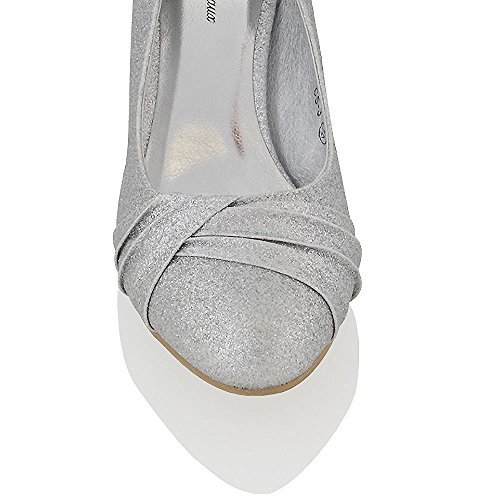 Essex Glam Womens Low Heel Bridal Party Slip On Pumps Court Shoes Silver Glitter MqjfQT1