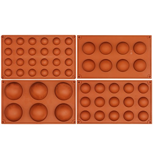 Yogurt Chocolate Mousse (Funshowcase Half Circle Silicone Mold Bombe Teacake Baking Pan Assorted Size 4 in Set)