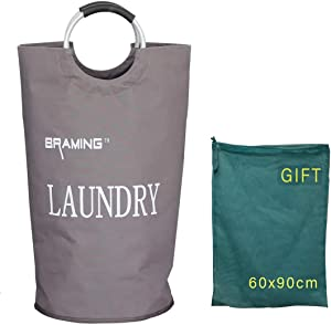 BRAMING 82L Large Laundry Basket Collapsible Waterproof Oxford Fabric Laundry Hamper with Handle, Foldable Clothes Storage Washing Bag(Khaki)