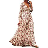 AIMTOPPY Women Retro Print Floral V-Neck Long Sleeve Evening Party Dress