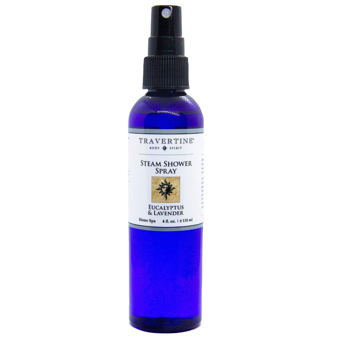 Travertine Spa Steam Shower Spray | Eucalyptus & Lavender | Shower Aromatherapy | Sinus and Congestion Relief | Steam Room Spray | 100% Natural Eucalyptus Oil | 4 oz. by Travertine