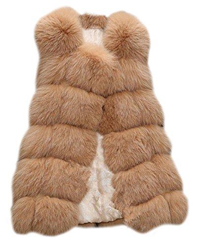 Gilet sans Chaud Camel Fourrure Manche en Garder Manteau Fausse Veste Femme au Outerwear xSwp6n
