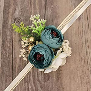 WeddingWrist Corsages and Boutonnieres Silk Rose Corsages Prom Long Ribbon Artificial Wrist Flowers,PK 5