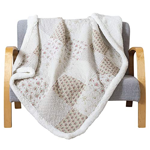 (Soul & Lane Printed Cotton Throw Blanket Budding Beauty with White Fleece/Sherpa (50