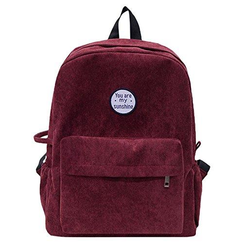 Wobuoke Women Girls Preppy Corduroy Shoulder Bookbags School Travel Backpack Bag Clearance