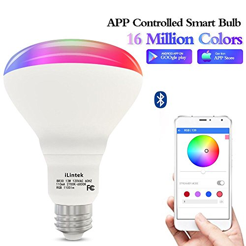 Bluetooth Smart Bulb Smart light bulb led color changing bulb (80W Equivalent) Multicolor LED Bulb-App Smartphone Controlled, Wake Up Light, Speaker &Music Sync Color- Dimmable RGB LED Light-No Hub by Unibank