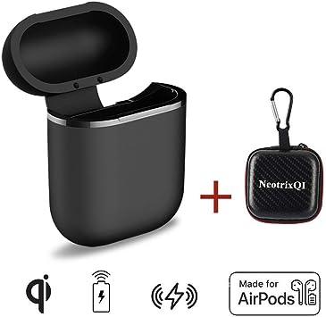 NeotrixQI Estuche de Carga Inalámbrica Compatible con Airpod, QI Cargador Inalámbrico Auriculares de Carga Estuche Protector Accesorios (Negra): Amazon.es: Electrónica