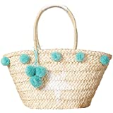 Beach Tote Bag Handmade Straw Woven with Pom Pom and Star for Women and Girls