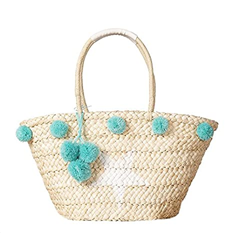c6e10545a Amazon.com: Beach Tote Bag Handmade Straw Woven with Pom Pom and Star for  Women and Girls (Green): Clothing