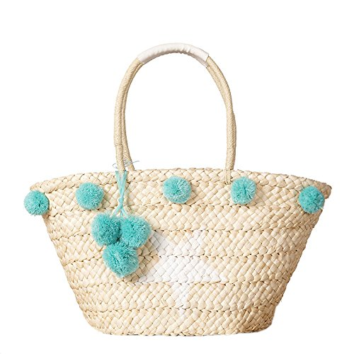 Beach Tote Bag Handmade Straw Woven with Pom Pom and Star for Women and Girls (Green)