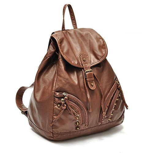 New Wayzon Brown Soft PU Leather Women Backpack with Zipper Rivet Decoration PU Schoolbag Travelling Bag for Girls