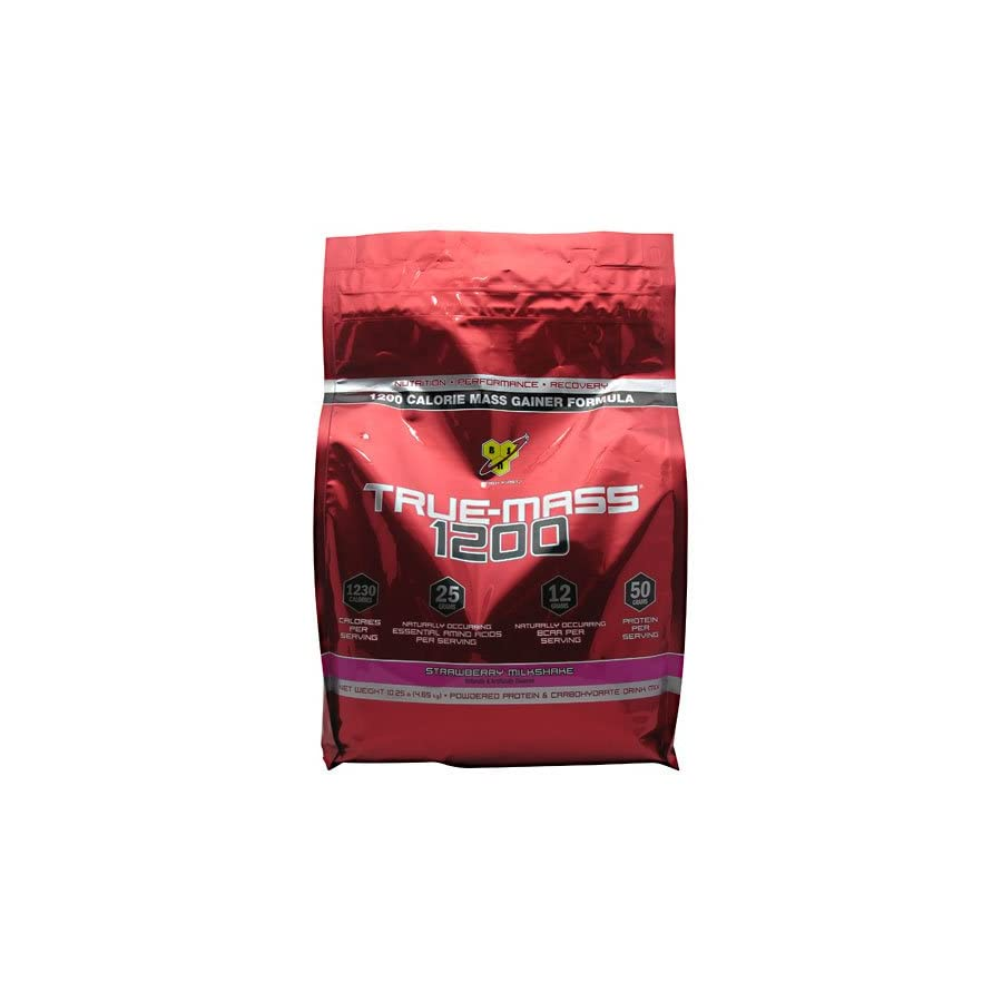 BSN True Mass 1200 Ultra Premium Super Mass Gainer Strawberry Milkshake 10.25 lbs.
