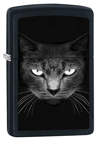 - Zippo Lighter: Black Cat Face - Black Matte 79158