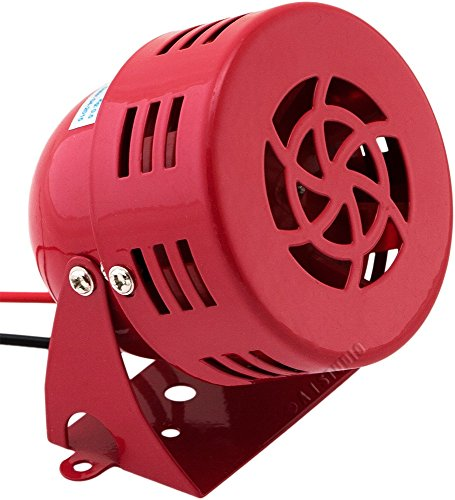 (Vixen Horns Loud 110dB Electric Motor Driven Horn/Alarm/Siren (Air Raid) Small/Compact Red 12V VXS-9050C )