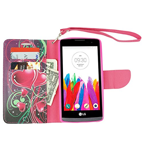 ZTE Warp Elite Case, Customerfirst Magnetic Folio Flip Book Wallet Pouch Case With Fold Up Kickstand and Detachable Wrist Strap For ZTE Warp Elite (Boost Mobile) (Cupid Hearts) Photo #3