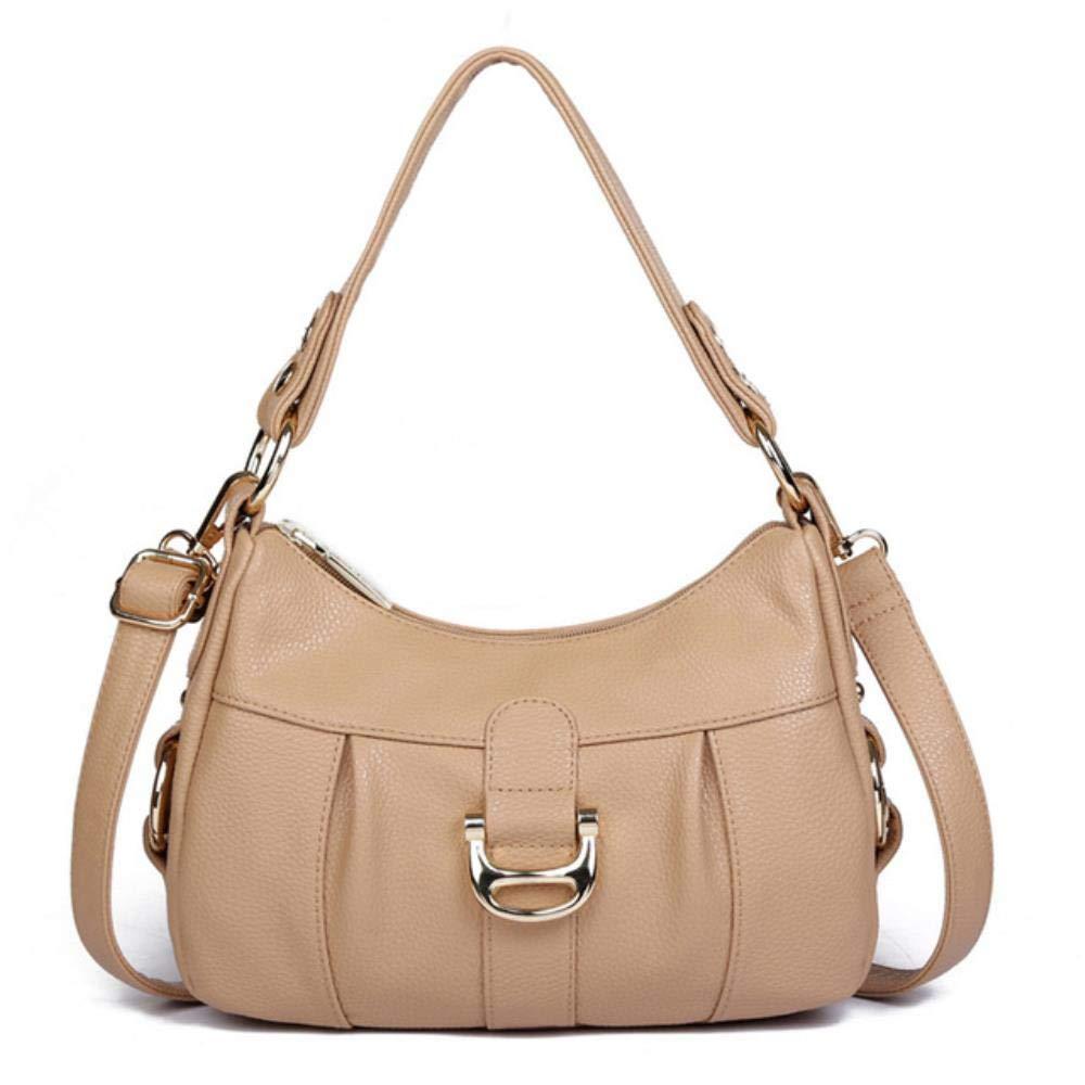 FORHOME Designer kvinnors äkta läder mode enkel axelväska kvinnor ko läder crossbody väskor handväskor för damer, kaki Khaki