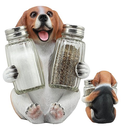 Ebros Adorable Small Hound English Tricolor Beagle Salt and Pepper Shaker Set With Two Glass Shakers Statue 5.75