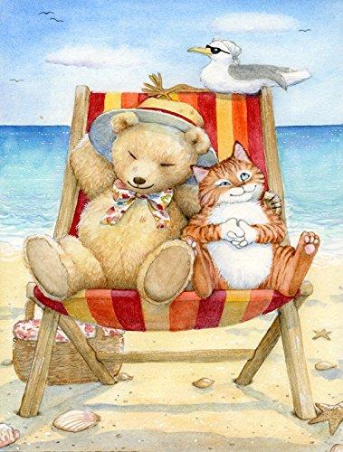 Treasures Teddy Bear - Caroline's Treasures CDCO0336GF Summer Teddy Bear and Cat on Beach Garden Flag, Small, Multicolor