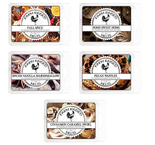Farm Raised Candles Fall Spice Assorted Bakery Scents Variety Mix 5 Pack.15 Ounces 100% All American Natural Made Paraffin-Free Scented Wax Melt Warmer Cubes. Scented Tarts Vegan