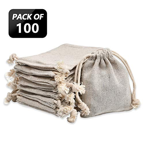 calary 100pcs Double Canvas Drawstring Bag Cotton Pouch Gift Sachet Bags Muslin Bag Reusable Tea Bag 2.75x4 Inch