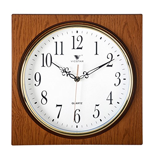 Quartz Mute Wall Clock (Lingxuinfo Wall Clock European Retro Style Square Wall Clock Mute Quartz Clock Wall Decor for Living Room Kitchen Bedroom - Light Wood Grain Color)