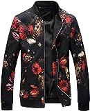 HENGAO Men's Casual Zipper Front Flowers Print Lightweight Varsity Jacket, JK776 Black, S/36 = Tag L