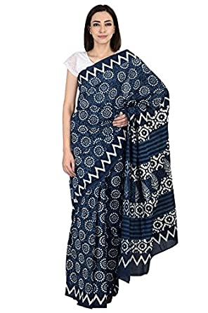2e31600bc5b0f ShopolicsBlue and White Floral Design Cotton Block Print Saree-20067 For  Wedding