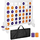 Smartxchoices Giant 4 in a Row Board Game Set - 3 Foot Width - Huge 4 to Score Board Game with a Carrying Shoulder Bag, Coins for Backyard Outdoor Party Game
