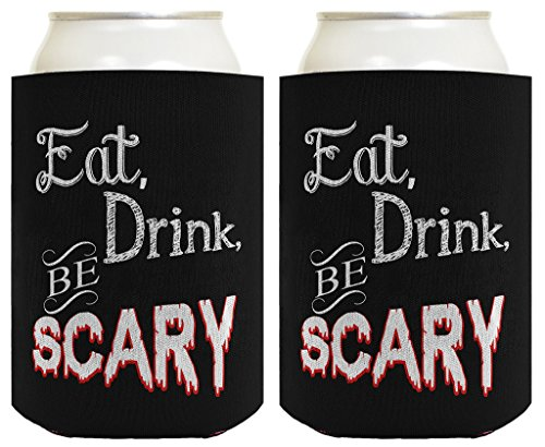 Funny Halloween Beer Coolie Eat Drink Be Scary Halloween Party Costume Accessory 2 Pack Can Coolie Drink Coolers Coolies Black (The Village Halloween Costume)