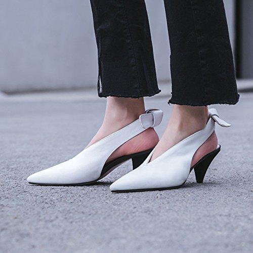 Jqdyl High Heels Damen Einzel Schuhe Stilettos Seasons Sandalen  34|White