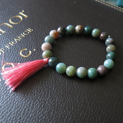 Natural India Agate - Natural India agate stone elastic bracelet tassel, hand-made