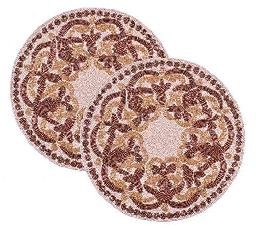 - Decozen Set of 2-Piece Embroidered Beaded Placemats Satin Back Lining Gold and Ivory Bead Design Table Decoration Indoor and Outdoor Use Round Placemats 15 x 15 inches