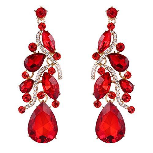 BriLove Womens Bohemian Boho Crystal Multi Teardrop Filigree Cluster Chandelier Dangle Earrings