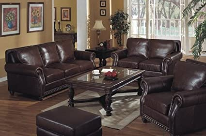Astonishing Amazon Com El Dorado 100 Top Grain Brown Leather 3Pc Chair Cjindustries Chair Design For Home Cjindustriesco