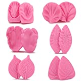 Flower Leaf Mold, Beasea 6 Pair Silicone Leaves Petel Veiner Mold Sugarcraft Flower, Shells Fondant Molds Cake Decorating Clay Maker Color Pink