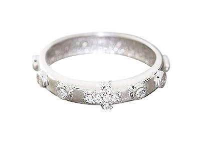 10daa5747f1e hobra de oro anillo de plata 925 con circonitas Memory - macizo anillo  Rosario con cruz  Amazon.es  Joyería