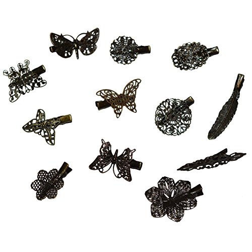 ShungFun Women Hair Pins Vintage Metal Butterfly Feather Flower Pattern Hair Bow Clips Bobby Pins Hair Clasps Hair Holders Head Bows BB Clips For Little Girl Toddlers Keens Baby girls (12pcs/set)