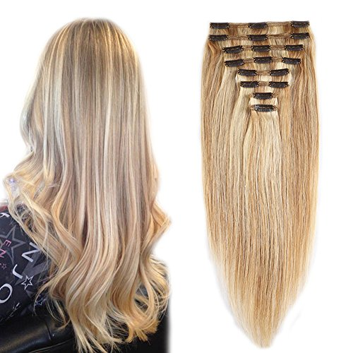 Double Weft 100% Remy Human Hair Clip in Extensions #18/613