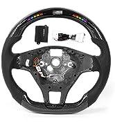 KIMISS LED Car Steering Wheel, Performance Carbon Fiber Race Display Steering Wheel Preforated Le...