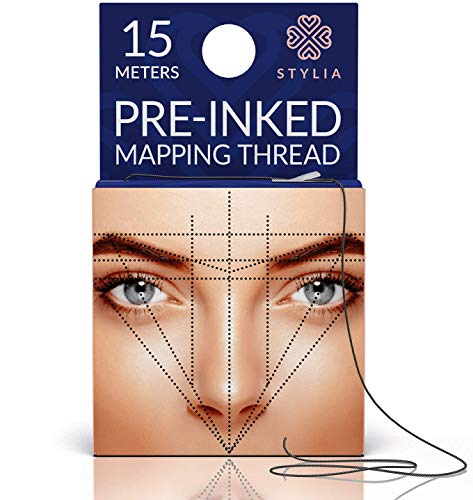 Microblading Supplies Pre-Inked Eyebrow Mapping String - 15 Meters - Ultra-Thin, Mess-Free Thread, Create a Crisp, Spot-on Brow Map Every Time - Hypoallergenic, Cosmetic Grade For Permanent Makeup