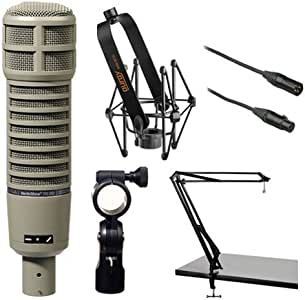 Electro-Voice RE20 Microphone Kit with Shockmount, Two-Section Broadcast Arm and Microphone Cable