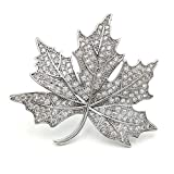DREAMLANDSALES Queen Jewelry Micro Pave Canadian Maple Leaf Brooches Pins Silver Tone
