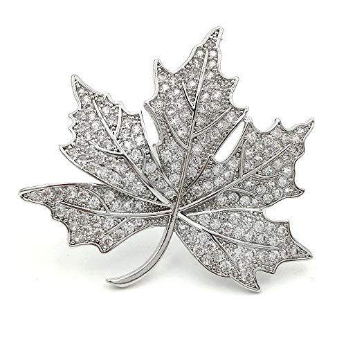(DREAMLANDSALES Queen Jewelry Micro Pave Canadian Maple Leaf Brooches Pins Silver Tone)